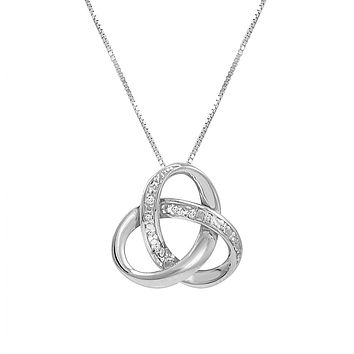 Sterling Silver Diamond Love Knot Pendant -Necklace on an 18inch Box Chain