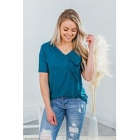 Slouchy Pocket Tee - Teal