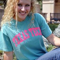 Classic Texas Tech Arch Hot Pink Arch on Seafoam Tee
