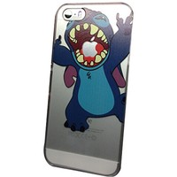 iPhone 5G 5 5S Lovely Disney Cartoon Lilo and Stitch Eating/ Grabbing Apple logo Cute Clear Case Cover for Iphone 5 and 5s Xmas Gift (Stitch01 for 5/5S)
