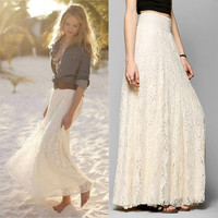 Womens Lace Layered Hitched Maxi Skirt A Line Gypsy Boho Long Asymmetric Summer = 4904896964