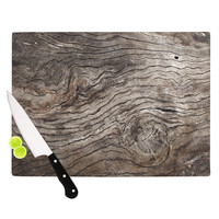 "Susan Sanders ""Tree Bark"" Brown Wooden Cutting Board"