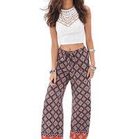 FOREVER 21 Abstract Paisley Palazzo Pants Navy/Rust