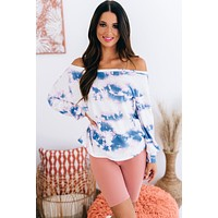Wait In Line Long Sleeve Tie Dye Top (Ivory Blue Tie Dye)