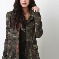 Camouflage Hooded Zipper Jacket