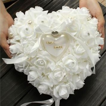 Romantic Pearl Rose Wedding Favors Heart Shaped Gift Ring Box Pillow Cushion [7983554375]