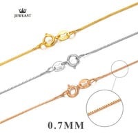 18k Pure Gold Rose White Yellow Genuine Women And Men Necklace Fine Simple Slim Thin Chains Hot Sale Matched For Any Pendant