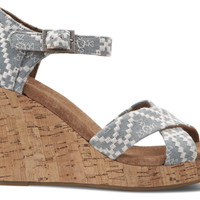 Denim Embroidered Women's Strappy Wedges US 9