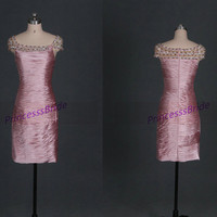 2014 pink satin prom dresses short,sexy sheathy homecoming dress with beads,cheap women gowns for holiday party hot.