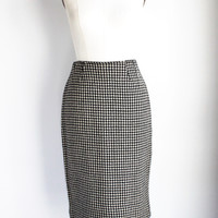 Vintage 1950s 1960s Houndstooth Pencil Skirt