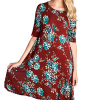 Maroon Floral Shift Dress
