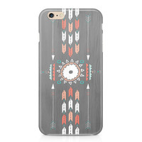 Tribal Wood iPhone 6S Case, Arrows Phone Case, Rustic Phone Case, Peach and Teal Phone Case, Custom Phone Cover, iPhone 6, Samsung Galaxy