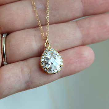 Gold Crystal Necklace Bridal Teardrop Jewelry - Bridesmaid Necklace - Crystal Bridal Necklace CZ Wedding Jewelry - Gold Clear Bridal Jewelry