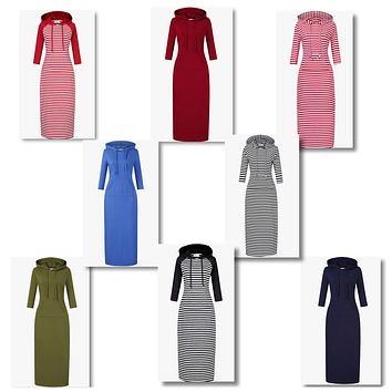 Women's Casual Maxi Hoodie Dress, Sizes XSmall - 3XLarge (US Sizes 0 - 26)