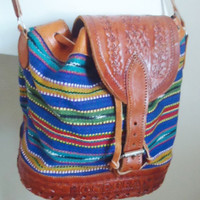 vintage hand tooled RARE etched leather aztec by MilanVintage