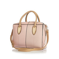 River Island Womens Pink leather-look split front boxy bowler bag