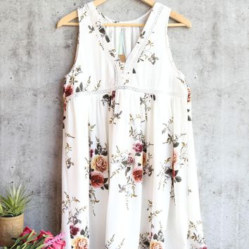 floral sleeveless dress - off white