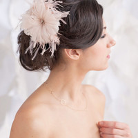 Feather flower, blush flower, blush headpiece- style 1110