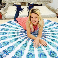 Free shipping Indian Mandala Round Roundie Beach Throw Tapestry Hippy Boho Gypsy Cotton Tablecloth Beach Towel