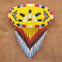 Beaded Barrette French Clip Yellow Feather Beadwork Oval Shape Handmade
