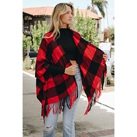 Buffalo Checker Tassel Poncho (Red)