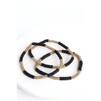 Gold and black beads stretchy bracelets