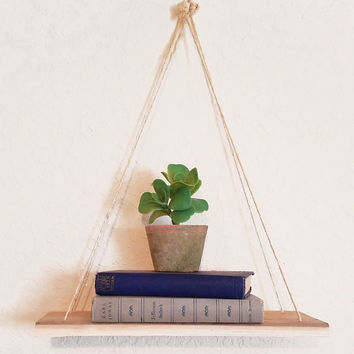 Hanging Shelf, Rustic Wood Shelf, Plant Hanger, Handcrafted Shelf, Easy To Hang, 6 x 14 Wood Hangs With Twine, Versatile Decor, Organizer