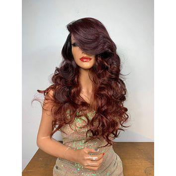 """OMBRÉ BURGUNDY BOMBSHELL . 18"""" Cute curly long body curly lace front hair wig #6 Side Part Bangs 820"""