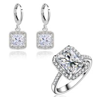 Yunkingdom Wedding Jewelry Sets for women Square Clear Cubic Zirconia Earrings Engagement Rings Earrings Sets LPG13