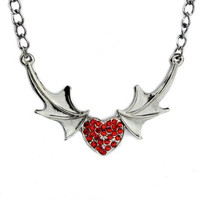 Vampire Bat Wing Red Stone Heart Necklace