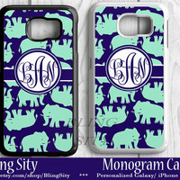 Elephants Monogram Galaxy S6 Edge S5 S4 case Note 2 3 4 S3 Case Personalized Custom Cover Navy Mint Lilly Inspired