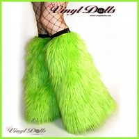 Rave Furry Boot Covers UV Lime Green Cyber Fluffies Fur Leg Warmers | FluffiesbyOVD - Accessories on ArtFire
