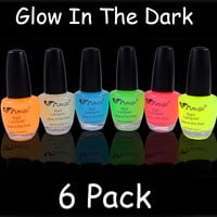6 Pack Of Glow In The Dark Nail Polish
