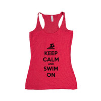 Keep Calm And Swim On Swimming Swimmer Pool Beach Sport Sports Sporty Gym Exercise Exercising Fitness SGAL7 Women's Racerback Tank