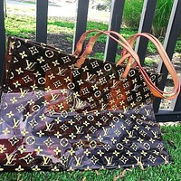 LV Louis Vuitton Fashion Transparent jelly Shopping Bag Leather Shoulder Bag Satchel Tote Two Piece Set