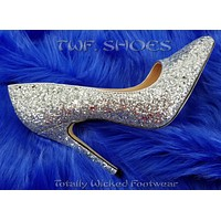 """Monica 100 Silver Glitter 4"""" High Heel Shoes Pointy Toe Pump 6.5-11"""