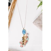 Under The Sea Necklace with Pastel Tassels & Ocean Blue Stone Pendant