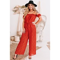 Tropical Trips Floral Off The Shoulder Wide Leg Jumpsuit (Red)