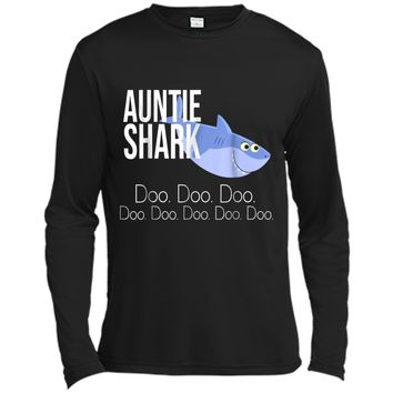 """""""Auntie Shark"""" Baby Mommy Daddy Matching Family Shark  Long Sleeve Moisture Absorbing Shirt"""