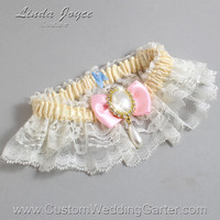 Ivory and Pink Wedding Garter Lace Bridal Garter 871 Ivory - 145 Light Pink Prom Garter Plus Size & Queen Size
