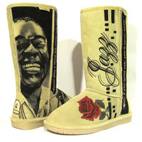 Boots Hand Painted boots, BEARPAW size 8 Louis Armstrong jazz theme