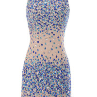Short Nude Gown With Colorful Rhinestones Formal Dress/ Prom Dress/ Cocktail Party Dress Am30