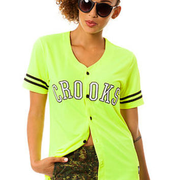 Crooks and Castles Shirt Athletica Baseball Jersey in Neon Yellow