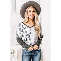 Let's Mooove Along Cow Print Striped Top