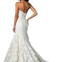 ZHUOLAN White Sweetheart Mermaid Gown in Lace Wedding Dress 26W