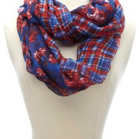 Plaid-Trimmed Floral Print Infinity Scarf