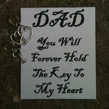 """Father's Day Keepsake from Daughter """"Dad You Will Forever Hold The Key To My Heart"""" Key Chain Charm Hearts and Key"""