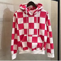 Champion New Fashion Autumn And Winter Letter Print Tartan Couple Loose leisure Hooded Long Sleeve Top Sweater Pink