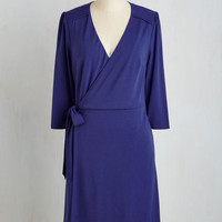Mid-length 3 A-line Lighthearted Lecture Dress in Cobalt