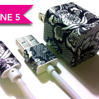UPDATED iPhone 5 Charger - iPad Mini Charger - Vintage and Lace Charger